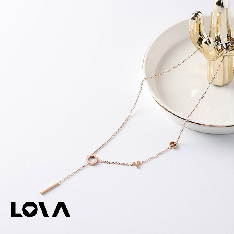 Gold LOVE Long Titanium Steel Necklace - Lova