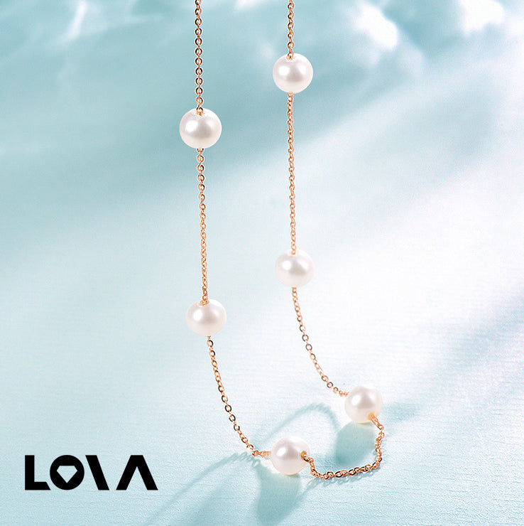 Pearl Link Chain Necklaces-Rose Gold Color - Lova