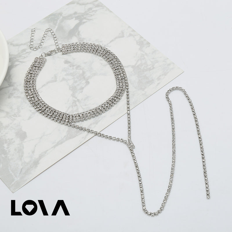 Women's Fashion Necklace Rhinestone Inlay Delicate Chic Accessory - Lova