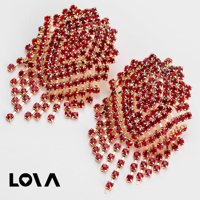 New Design 4 Colors Rhinestone Big Tassel Earrings - Lova