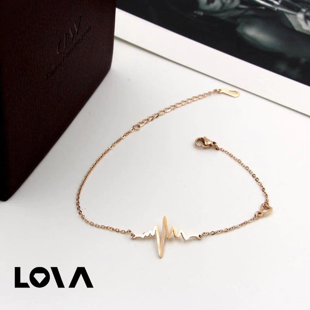 Titanium Anklet Heart Pulse Beats Peach Foot Chain Bracelet Foot Jewelry for Women - Lova