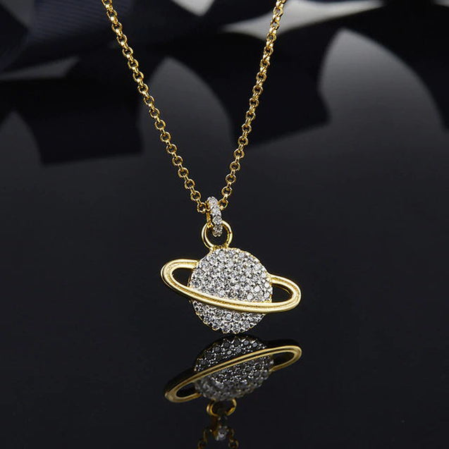 925 Sterling Silver Star Saturn Pendant Necklace - Lova
