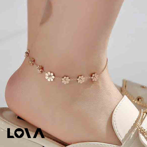 Rose Gold 7 Daisies Charms Anklet Foot Bracelet / Foot Charms Chain - Lova