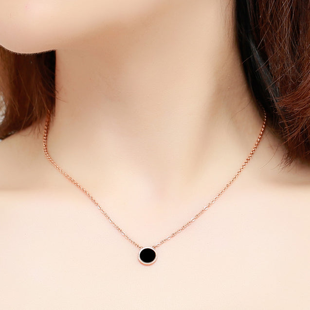Rose Gold Color Elegant Simple Black Round Pendant Necklace Woman 316L Stainless Steel Jewelry - Lova