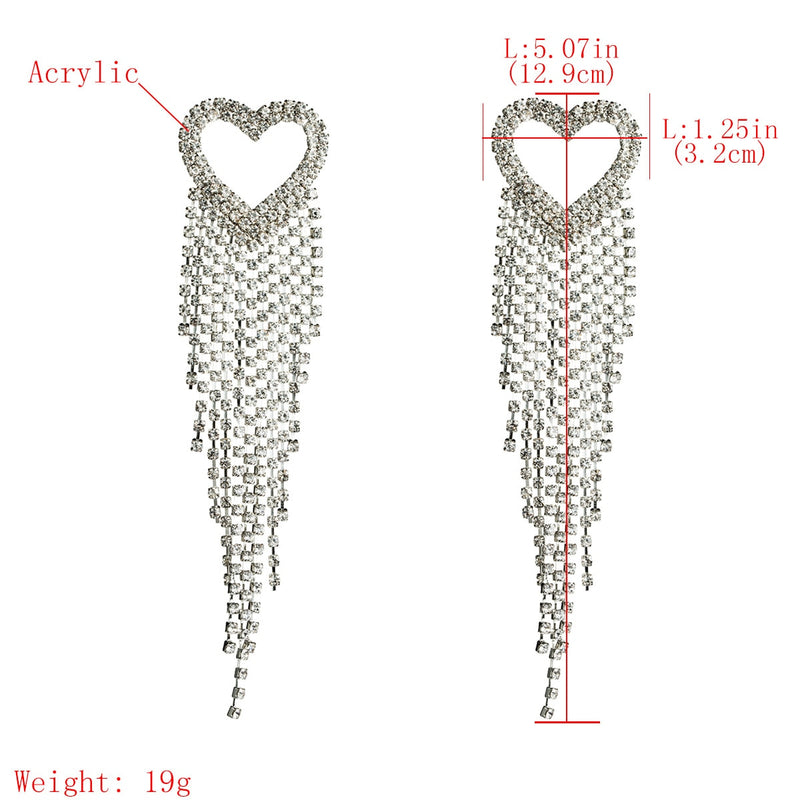 Women's Drop Earrings Hollow Out Heart Design Long Tassel Retro Accessories - Lova