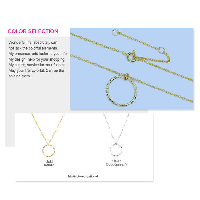 Pendant Necklace Gold Classic Statement Necklace for Women Geometric Circle Jewelry - Lova