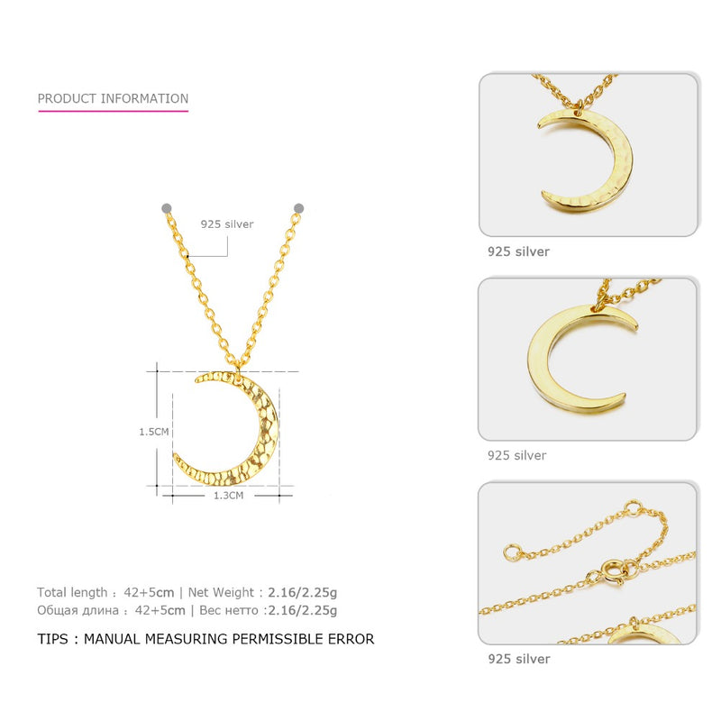 Moon Pendant Necklace Simple Gold Chain Link Crescent Necklace - Lova