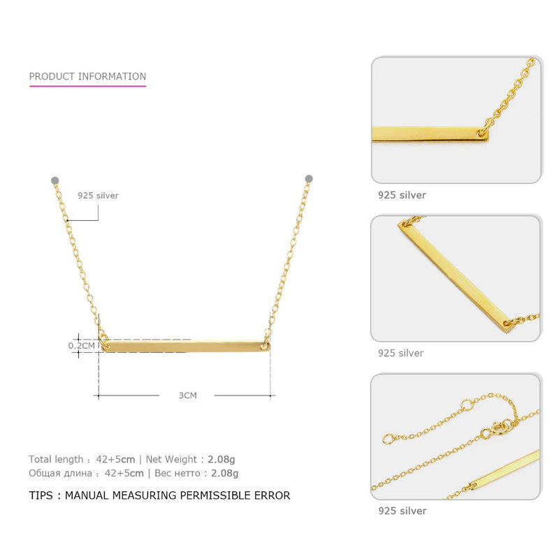 Stick Gold Chain Necklace Simple Pendant for Women - Lova