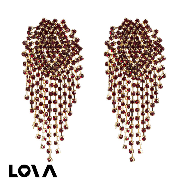 Rhinestone Tassel Earrings Fringed Long Drop Earrings - Lova