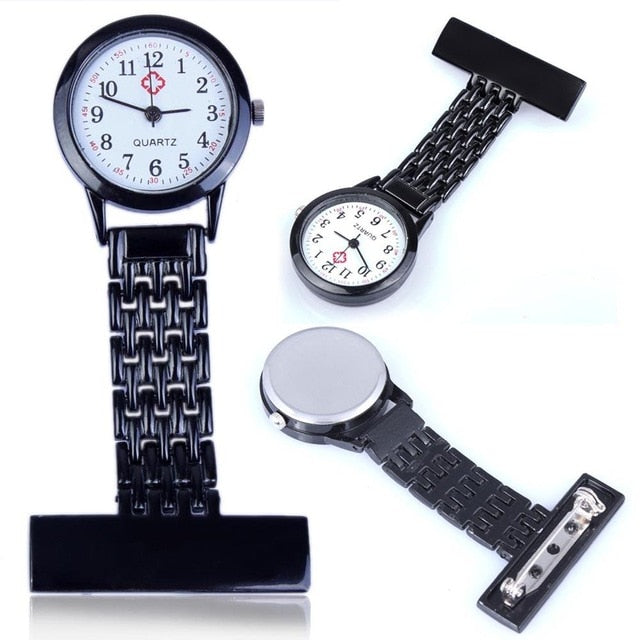 Stylish Metal Clip-on Pocket Quartz Analog Brooch Medical Nurse Fob Watch