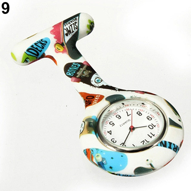 Round Dial Silicone Nurses Brooch Watch with Clip