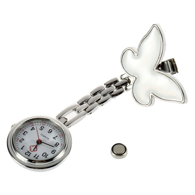 Butterfly Shape Antique Stainless Steel Nurse Pocket Fob Watch