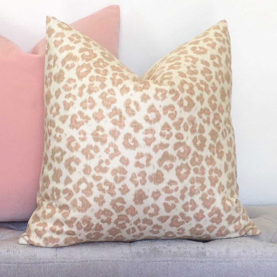 Feline Leopard Pillow Cover - Blush