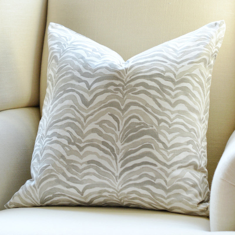 Zebra Palm Pillow Cover - Gray