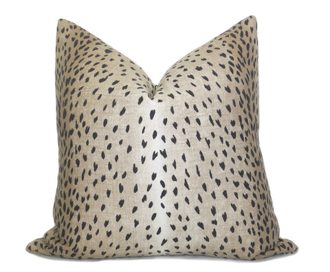 Kenza Ikat Dots Pillow Cover - Black