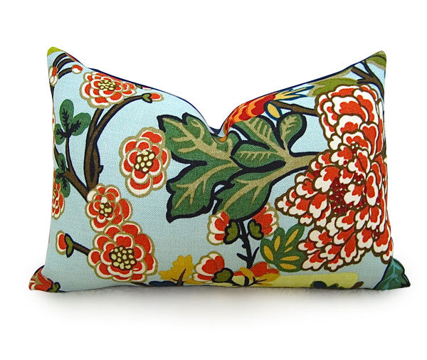 Chiang Mai Dragon Pillow Cover - F. Schumacher - Aquamarine