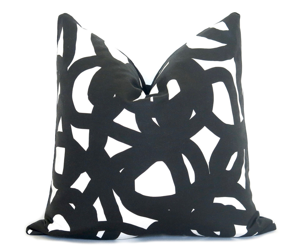 Circle Brushstrokes Pillow Cover - Black