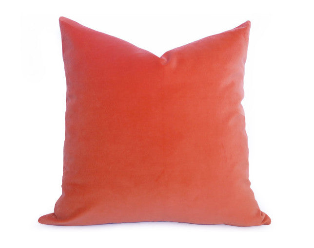 Cotton Velvet Pillow Cover - Coral Orange