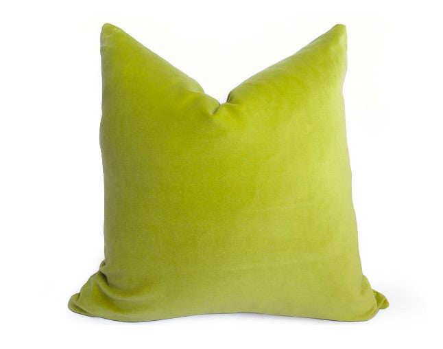 Cotton Velvet Pillow Cover - Lime