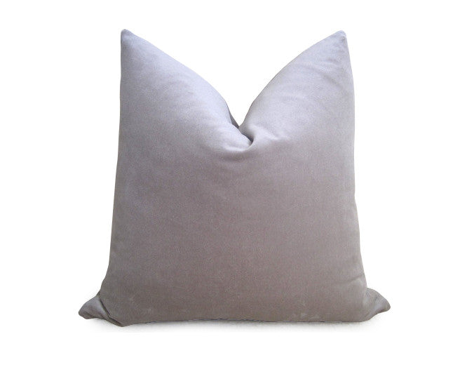 Plush Velvet Pillow Cover - Silver Gray