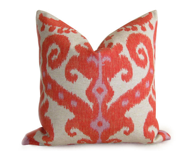 Tangier Ikat Pillow Cover - Coral