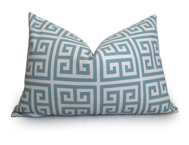 Greek Key Pillow Cover - Light Blue