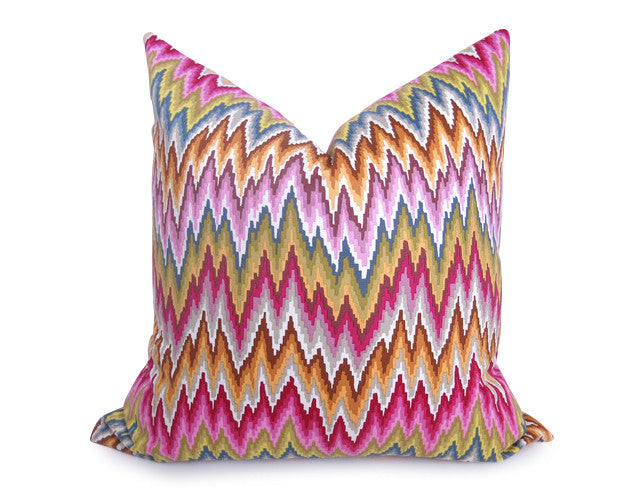 Flamestitch Chevron Pillow - Magenta