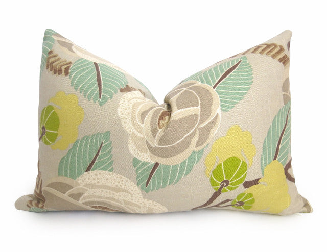 Jasmine Floral Pillow Cover - Aqua
