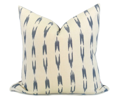 LIMITED 008 - Batik Hemp Indigo Pillow Cover - Vintage