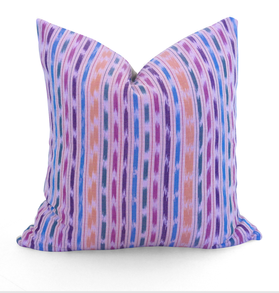LIMITED 016 - Guatemalan Ikat Stripe Woven Pillow Cover - Pink