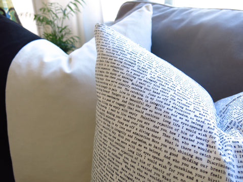 Text Print Pillow Cover - Black and White