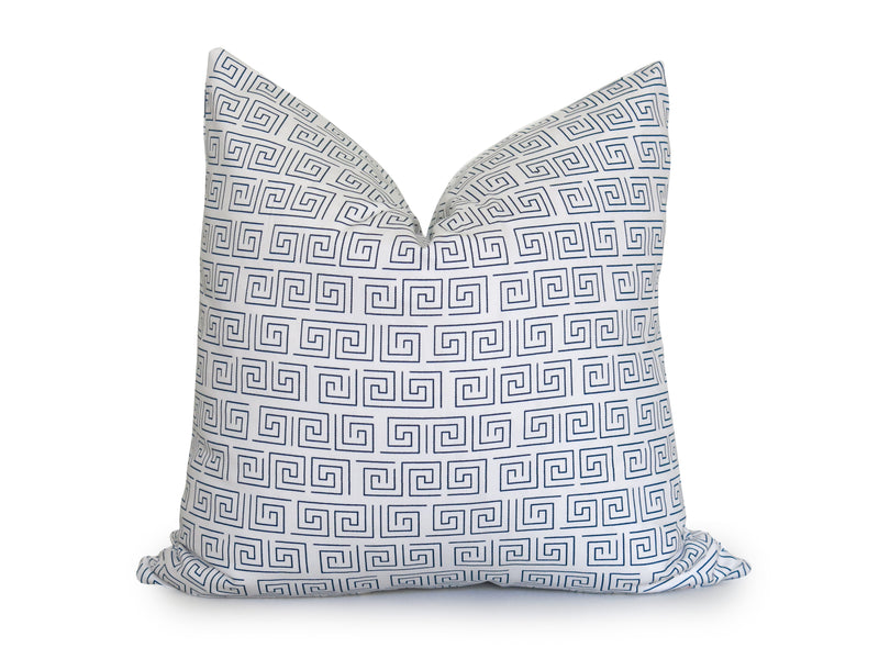 Mini Greek Key Pillow Cover - Navy