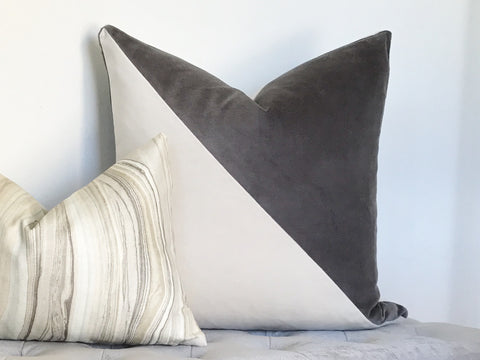 Slash Velvet Pillow Cover - Gray