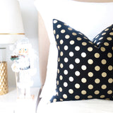 Metallic Gold Dots Pillow Cover - Black