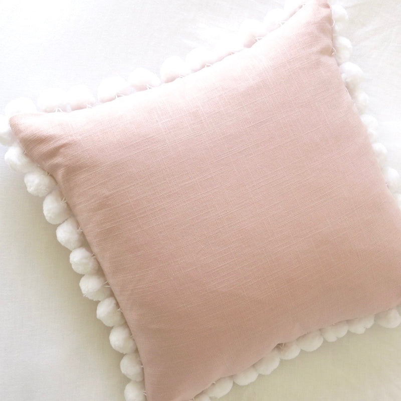 Pom Pom Pillow Cover - Blush