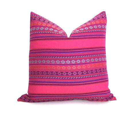 LIMITED 001 - Peruvian Stripe Pillow Cover - Pink