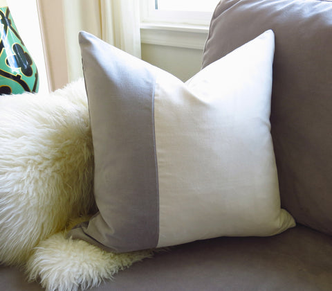 Velvet Colorblock Pillow Cover -  Gray and White