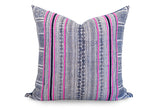LIMITED 009 - Batik Indigo Pink Boho Pillow Cover - Vintage