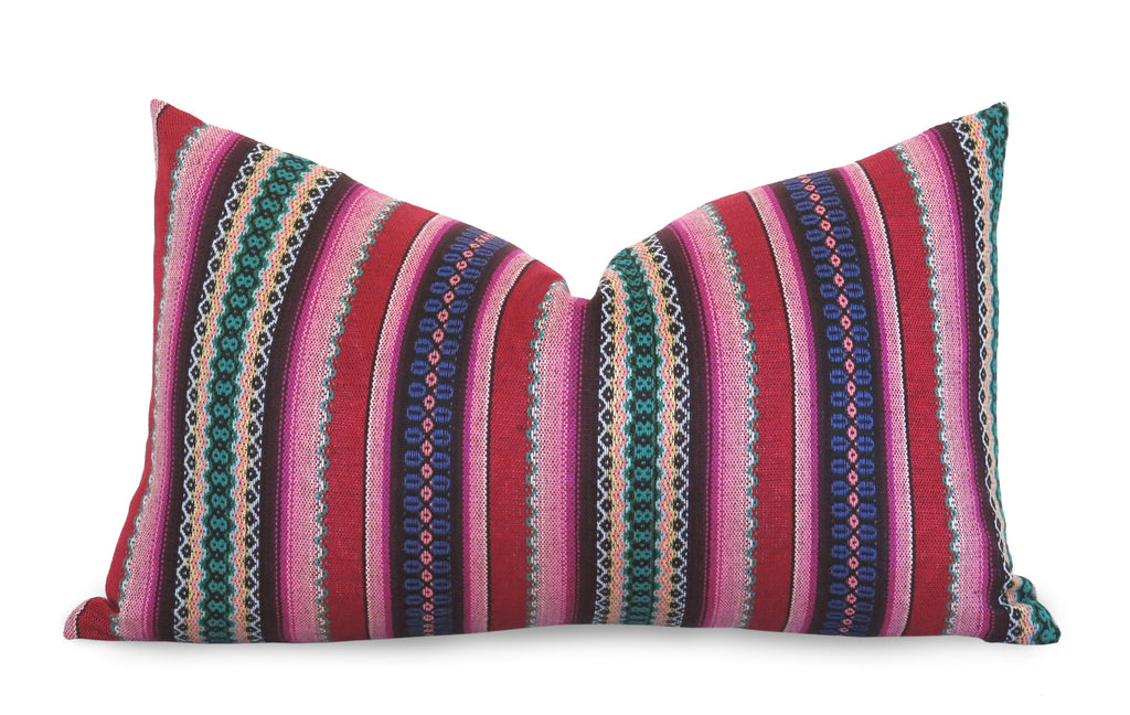 LIMITED 012 - Peruvian Stripe Pillow Cover - Pink and Green