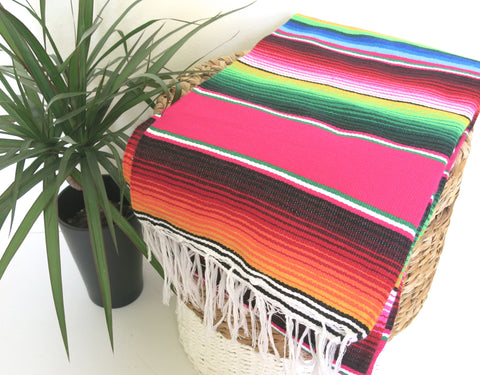 Classic Mexican Serape Blanket - Stripe Pink