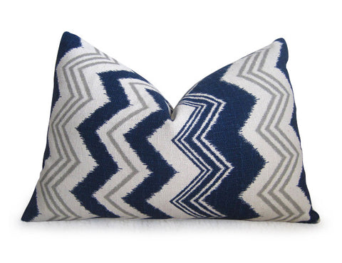Ikat Chevron Pillow Cover - Navy Blue