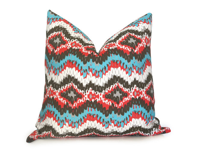 Links Ikat Outdoor Pillow Cover - Turquoise