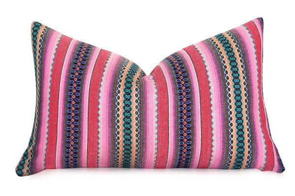Flamestitch Chevron Pillow Cover - Magenta