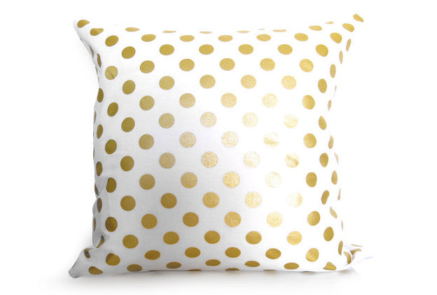 Metallic Gold Dots Pillow Cover - White