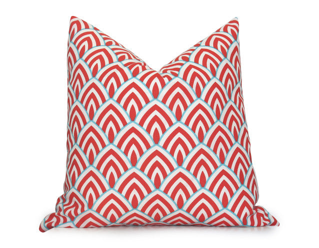 Scallop Outdoor Pillow Cover   Coral