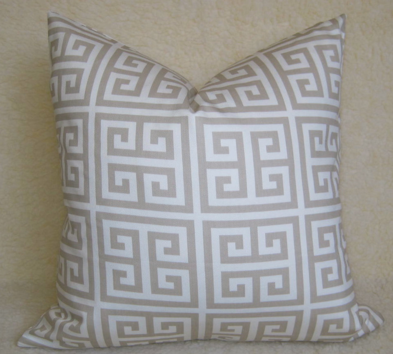 Greek Key Pillow Cover - Tan