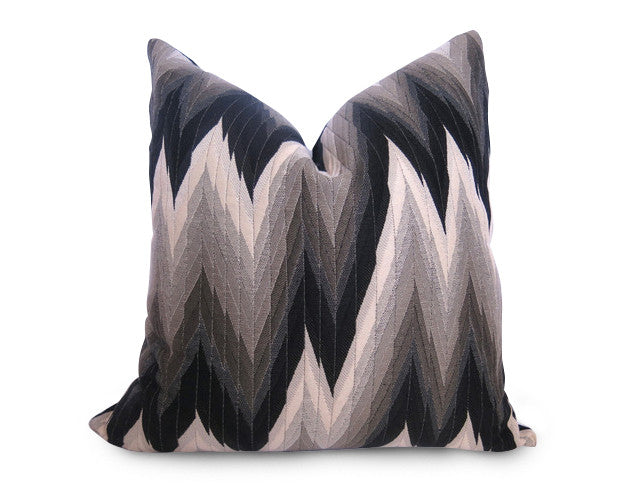Zig Zag Flamestitch Pillow Cover - Black