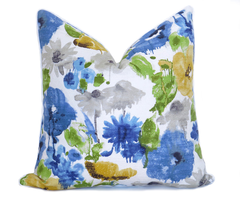 Watercolor Floral Pillow Cover - Blue