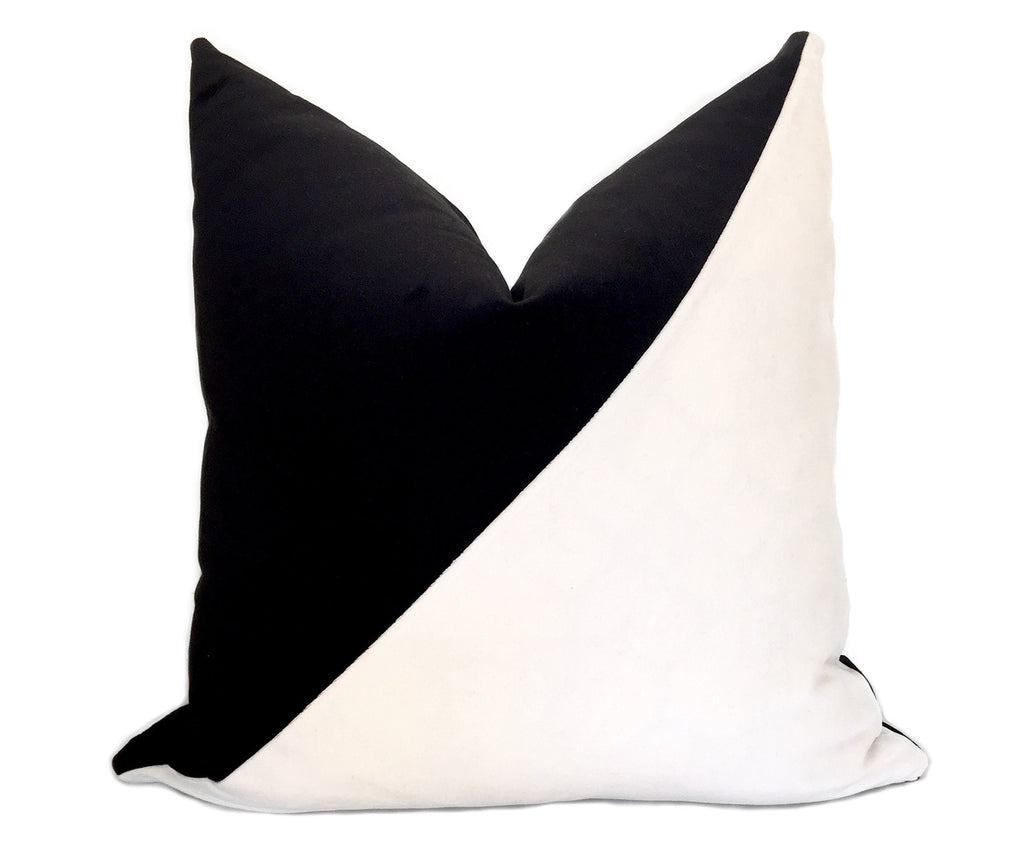 Slash Colorblock Velvet Pillow Cover - Black and White