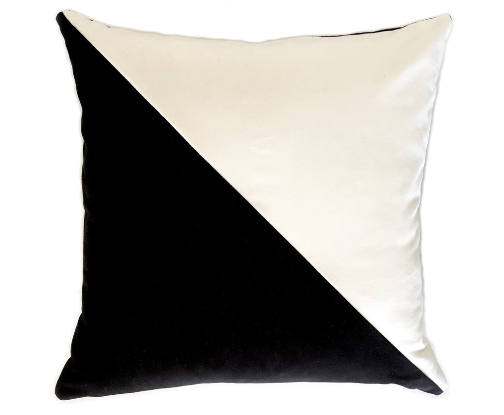 Slash Velvet Pillow Cover - Black and White